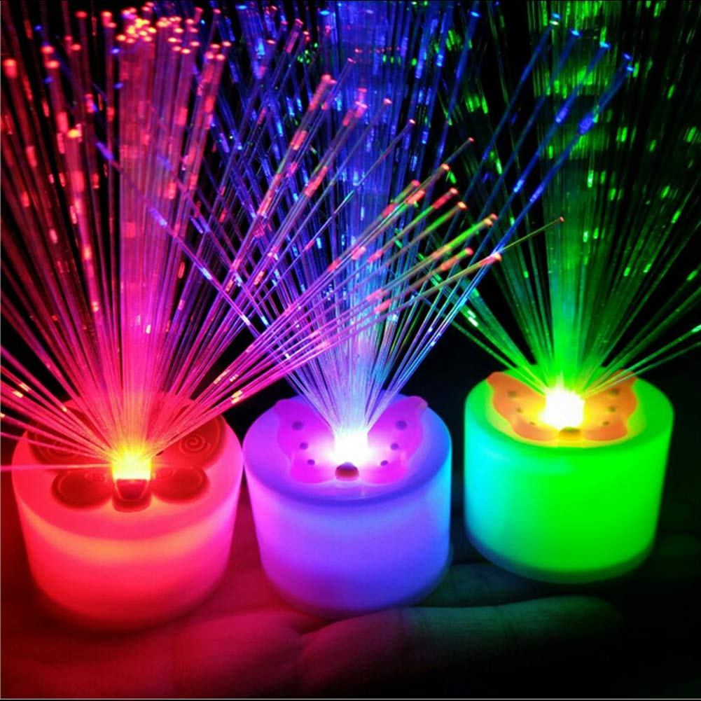 Fiber Optic Candle Lamp, Colorful Romantic Love Shape Candle Night Light for Kids Room,Wedding,Christmas,Valentine's Day Party Decoration(Yellow) YOEDAF