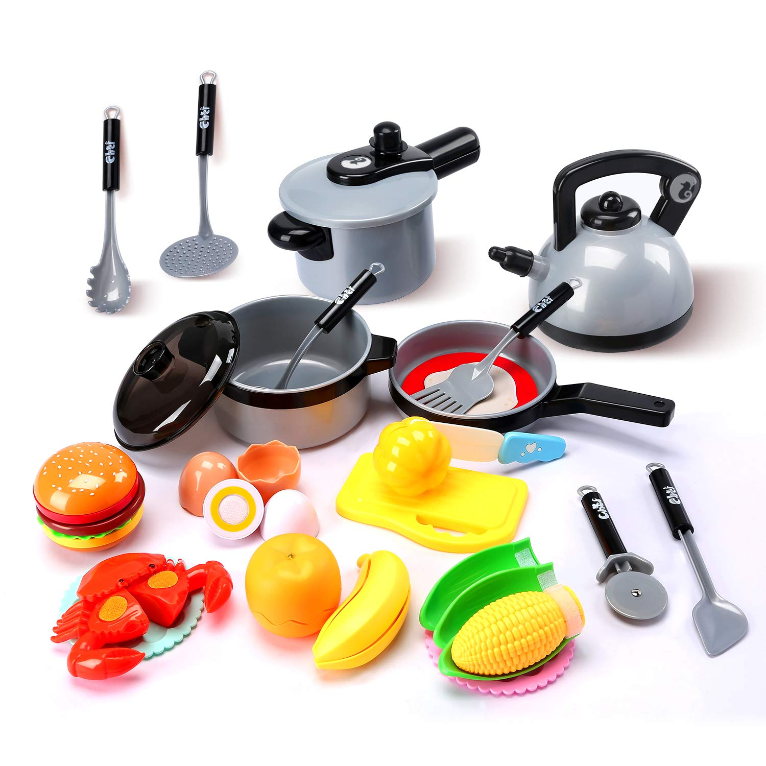 Cute Stone Kids Kitchen Pretend Play Toys,Play Cooking Set, Cookware Pots and Pans Playset, Peeling and Cutting Play Food Toys, Cooking Utensils Accessories, Learning Gift for Toddlers Baby Girls Boys