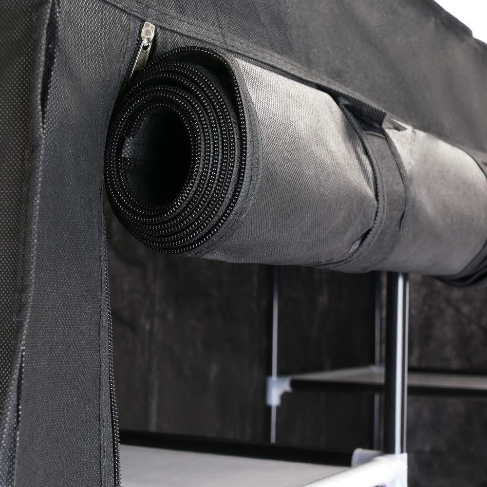 PrimeMatik Armoire de Rangement en Tissu 150 x 45 x 175 cm Noir avec 3 Portes Rouleau