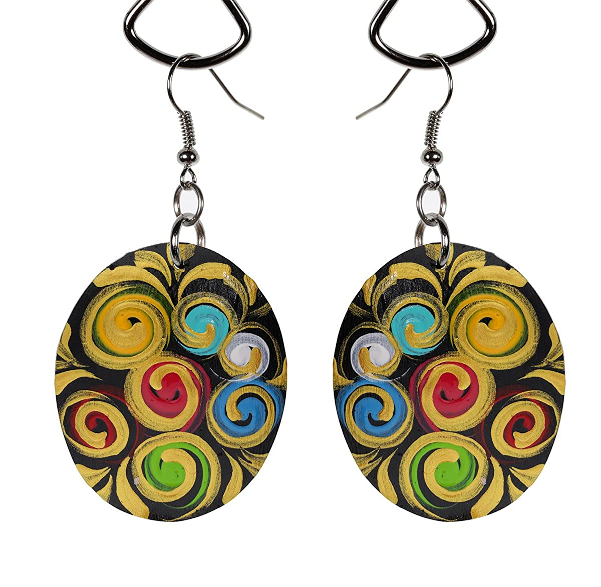Colorful Spirals Natural Coconut Crafts The Ambient Collection Eco Friendly Oval Handmade Wood Statement Earrings For Moms