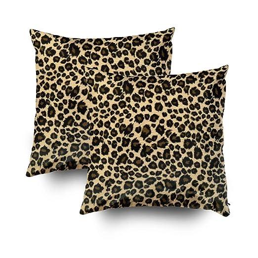 Funda de almohada de algodón con estampado de leopardo para ...