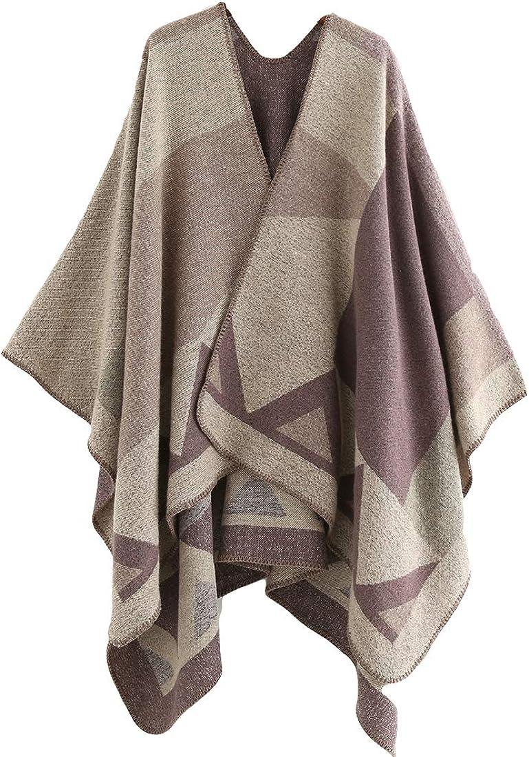 Women Winter Warm Shawl Wrap Stole Neck Long Scarf Open Front Poncho Cape