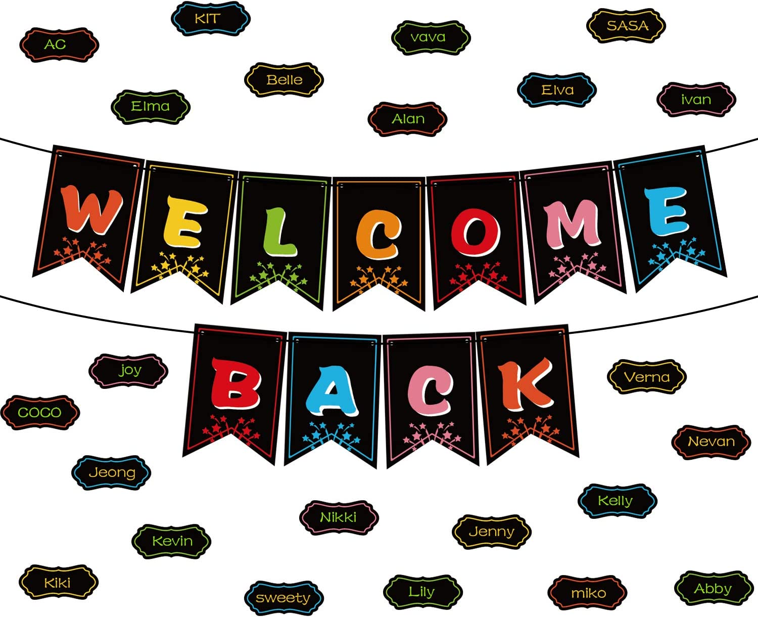 Classroom Decorations Welcome Banner, Welcome Bulletin Board Banner Welcome Chalkboard Brights Pennants with 50 Dry Eraser Multi-Purpose Cards and 80 Glue Point Dot (Welcome Back Banner)