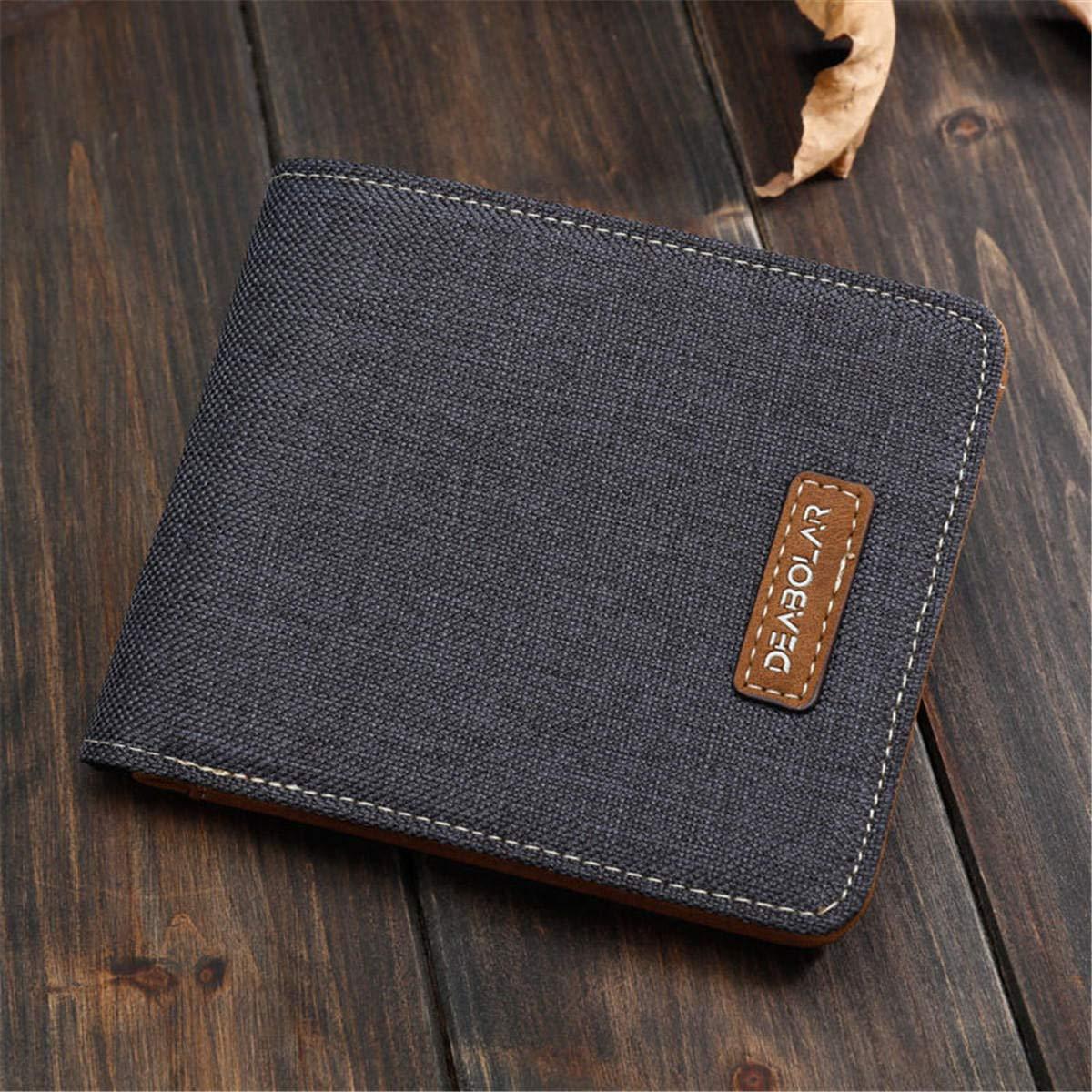 F.S.M. Men Canvas Slim Billfold Wallet Clutch Handbag Credit Card Purse Holder - Black Vertical by F.S.M.