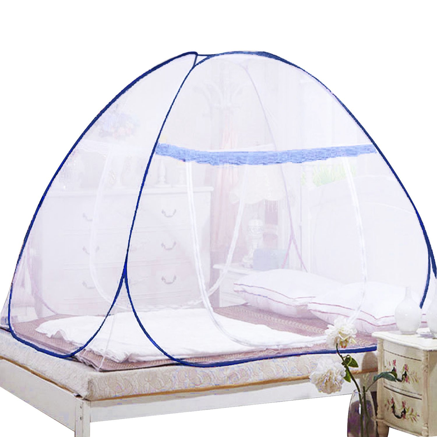 Gosear Spacious Folding Mosquito Net Bed Guard Tent Easy Pop Up Mosquito Net with Attached Bottom Dual Zipper Doors for Babies Toddlers Kids Adult Home Travel Outdoors 71 x 79 x 59inch