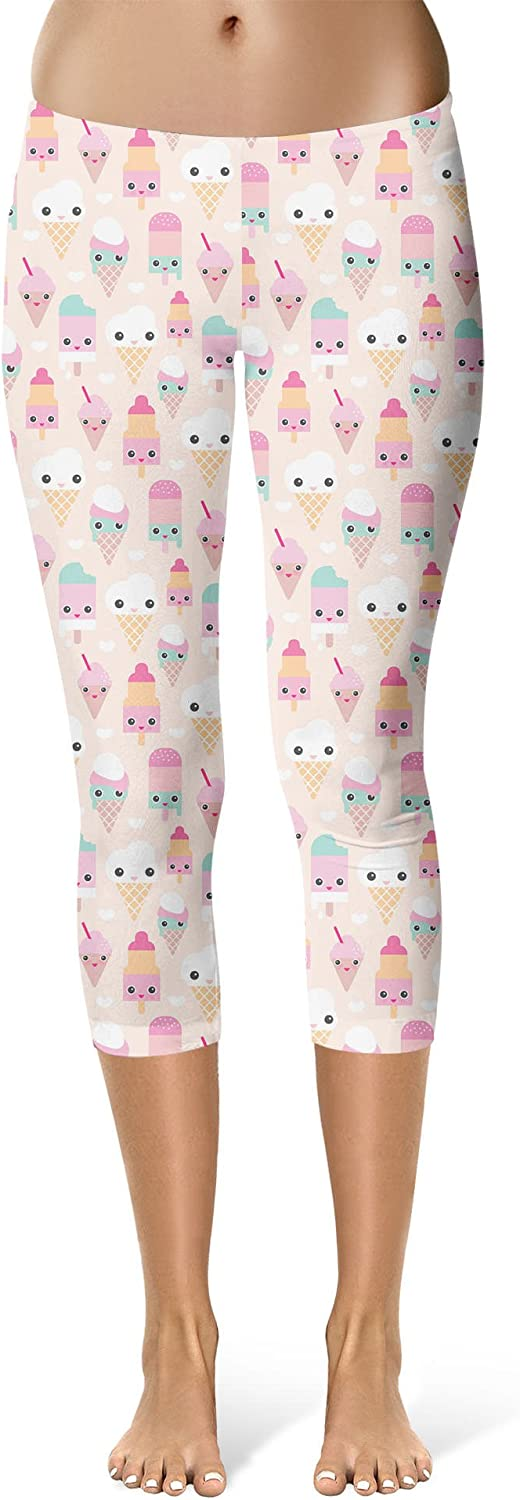 Kawaii Icecream Sport Leggings Capri Length Mid//High Waist Pink