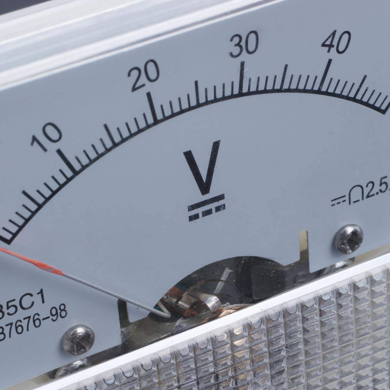 TOOGOO Gauge 0-50Vdc Analog Panel Meter Tension Volt M/ètre Voltm/ètre Blanc 85C1 Dc 50V
