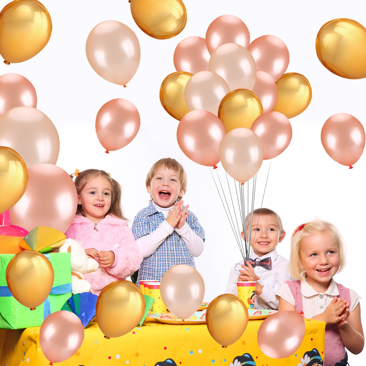 Wedding Hawaii Graduation Birthday Party Decoration Supplies LeeSky RGB-10 50Pcs Gold /& Rose Gold /& Champagne Gold Color Latex Party Balloons