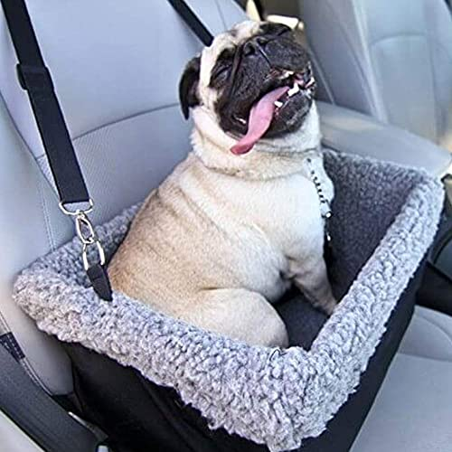 Devoted Doggy Deluxe Dog Booster Car Seat – Premium Quality Metal Frame Construction – Clip-on Safety Leash – Zipper Storage Pocket – Perfect for Small and Medium Pets Up to 15 Lbs