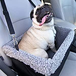 Devoted Doggy Deluxe Dog Booster Car Seat - Premium Quality Metal Frame Construction - Clip-on Safety Leash - Zipper Storage Pocket - Perfect for Small and Medium Pets Up to 15 Lbs