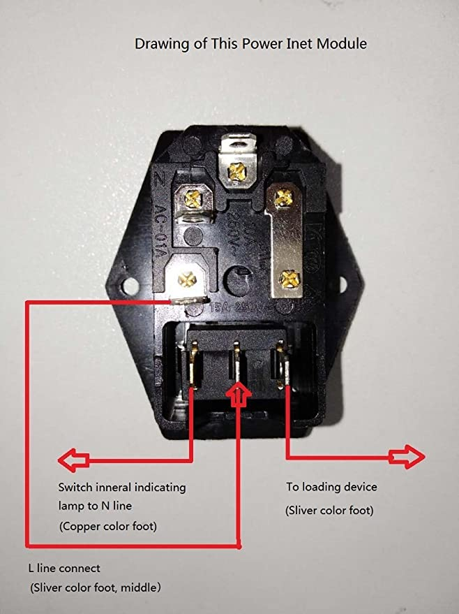 3Dman 15A 250V Rocker Switch Power Socket Inlet Module Plug 5A Fuse Switch with 18 AWG Wiring 3 Pin IEC320 C14