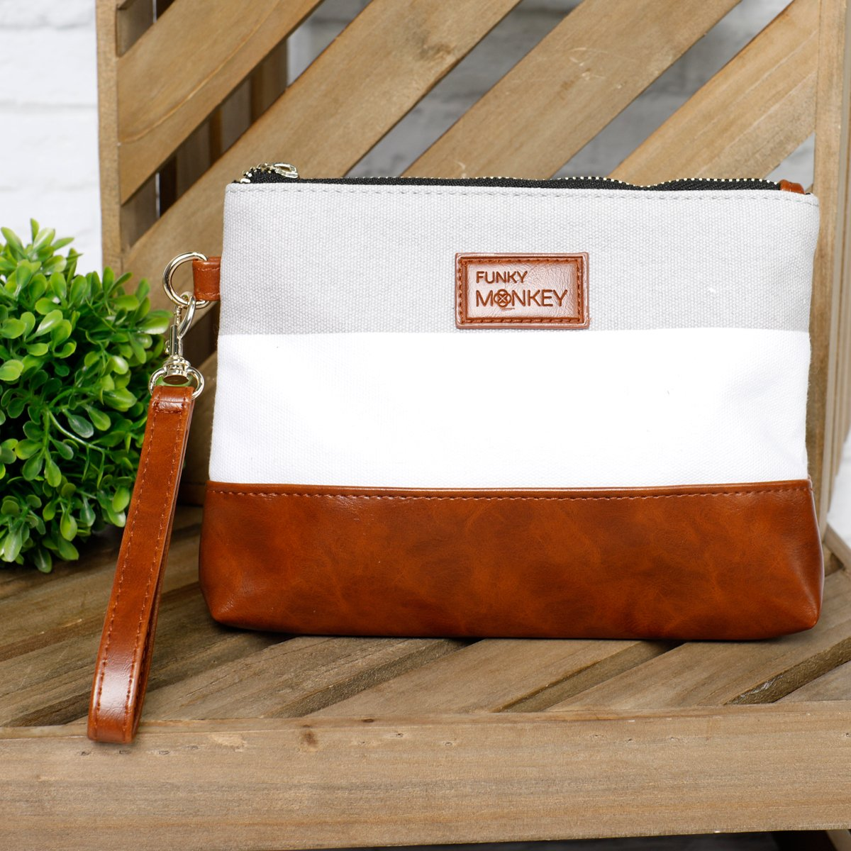 {Madi Collection} Wristlet Wallet Clutch Bag - Phone Purse Handbag - Small, Medium, Large Size - Gray & White Stripe Style, Vegan Bottom Urban- Funky Monkey Fashion (Medium) by Funky Monkey Fashion (Image #2)