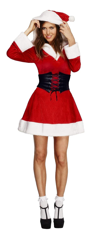 SmiffyS 36988L Disfraz Fever De Mamá Noel, Vestido Con Capucha Y Enagua Adjunta, Rojo, L - Eu Tamaño 44-46