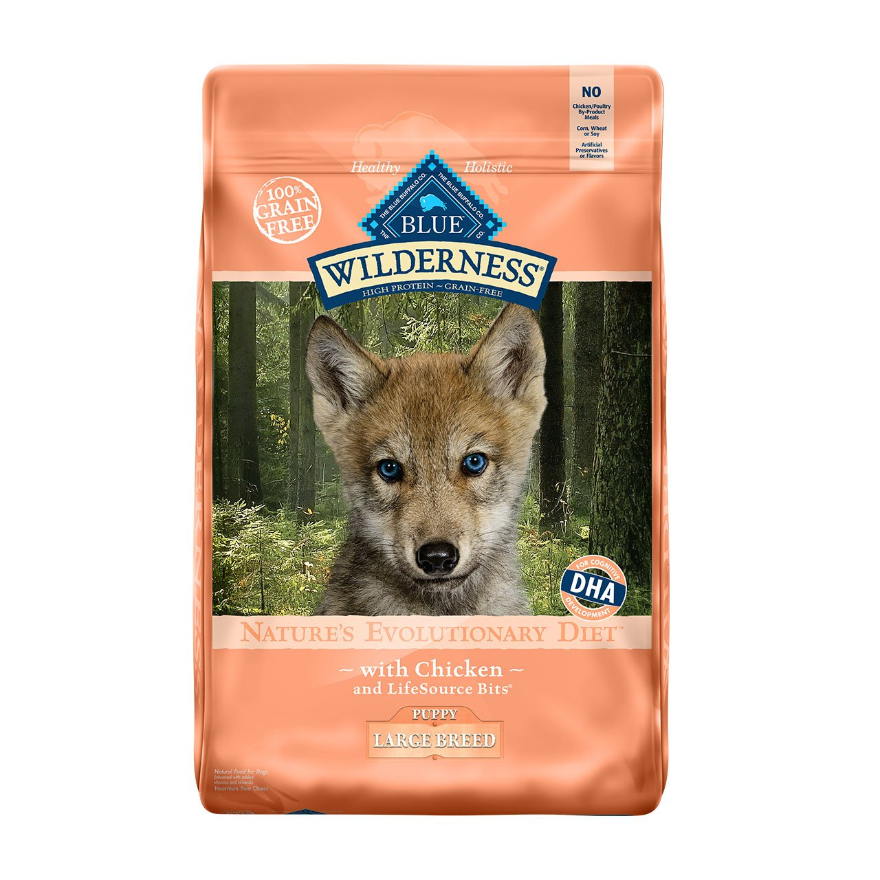 Blue Buffalo Wilderness High Protein Grain Free, Natural Puppy Large Breed Dry Dog Food, Chicken 24-lb