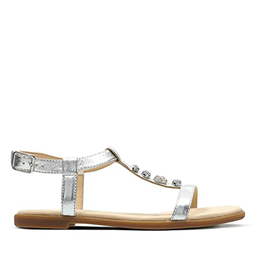 6eb9f0b79d3e Clarks Bay Blossom Leather Sandals in Silver Metallic  Amazon.co.uk ...