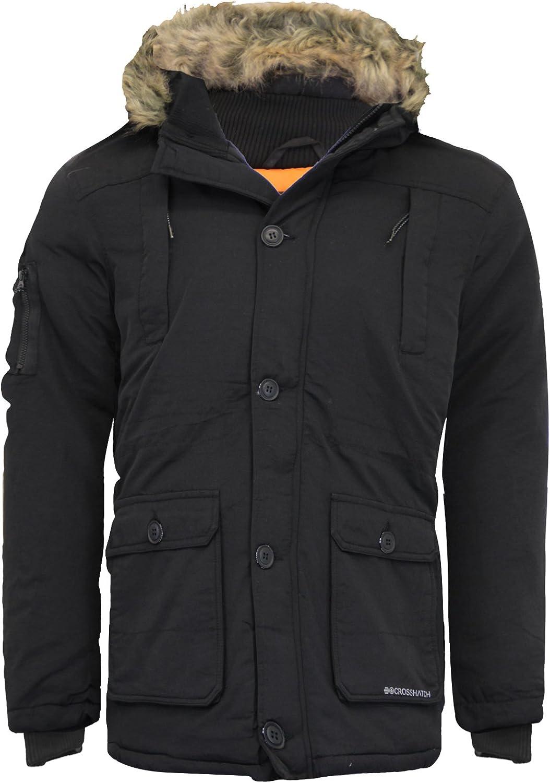 Black,XL 2k16Aug Mens KILLBORN Designer Zip Through Fur Lined Parker Hooded Coat X-Large, AAA - Black