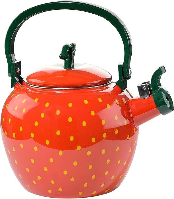 HOME-X Strawberry Whistling Tea Kettle, Cute Fruit Teapot, Kitchen Accessories & Décor