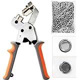 BEAMNOVA Grommet Handheld Hole Punch Pliers Grommet Machine Hand Press Tool W/ 500 Silver Grommets of 3/8 Inch (10mm)