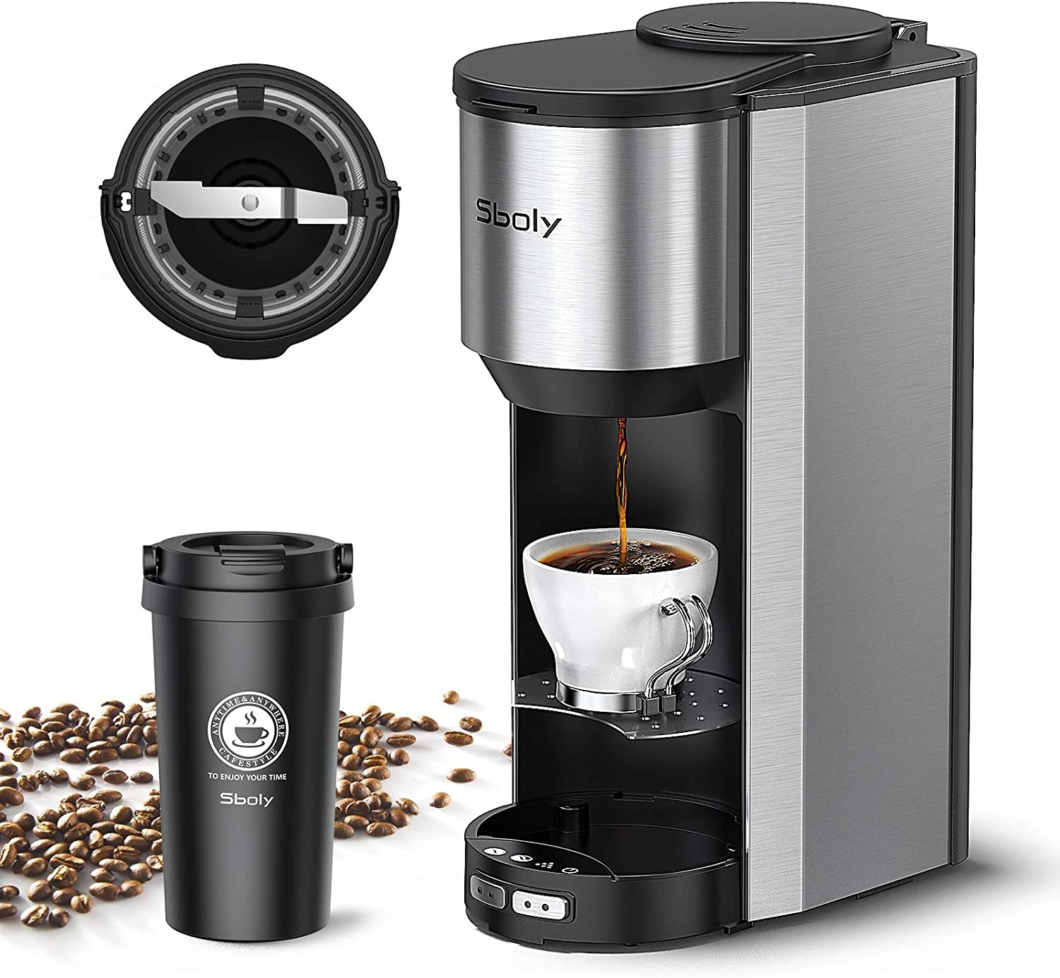 Sboly Coffee Machine Grind and Brew 2 In 1