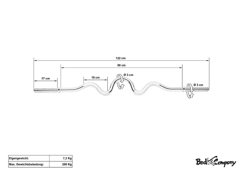 Bad Company Super SZ-Hantelstange 120//122 cm mit Gewinde Verschl/üssen 30//31 mm I SZ-Curlstange verchromt oder schwarz beschichtet I Max oder glatter Auflagefl/äche inkl Gewichtsbelastung von bis zu 200 kg