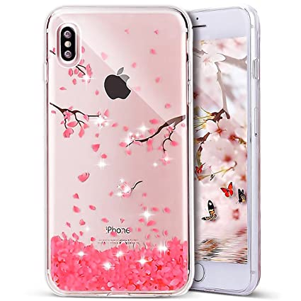 new arrival 74931 d512a PHEZEN iPhone X Case, iPhone X TPU Case Luxury Bling Diamond Crystal Clear  Soft TPU Silicone Back Cover with Cute Pattern for 5.8 inch iPhone X, ...