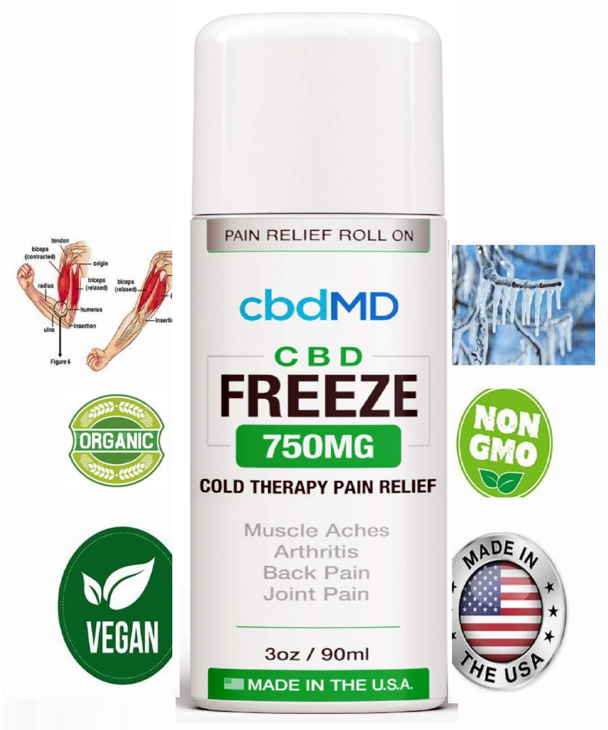750mg 3oz Pure Freeze ROLL ON Pain Relief Cold Topical Therapy Gel Lotion Organic Vegan Arthritis Back AID USA Grown Gluten Free Non GMO Joint Pain Hemp