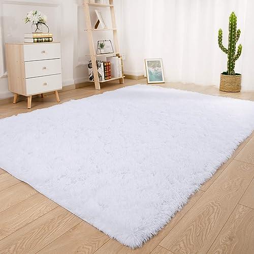 Ucomn Super Soft Indoor Modern Shag Area Rug Bedroom Silky Smooth Rugs Fluffy Anti-Skid Shaggy Area Rug Dining Living Room Kids Carpet 6' x 9'