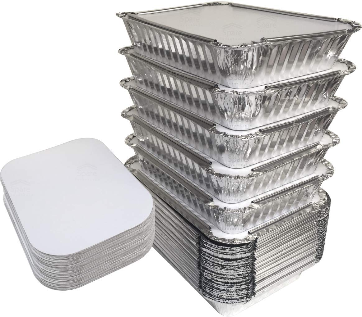 "55 Pack - 2.25 LB Aluminum Foil Pan Containers with Lids Take Out Pans Food Containers Disposable Easy Pack From Spare – 2.25Lb Capacity 8.5"" x 6"" x 1.5"" – STANDARD Size"
