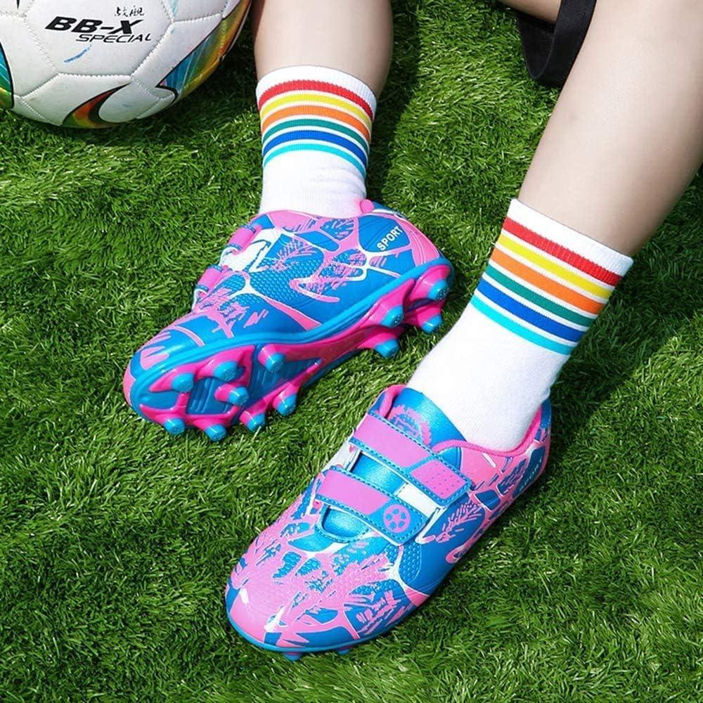 Baskets de Football Fille 34 Enfant Chaussures de Football FG//AG Comp/étition Entra/înemen Football Shoes Respirant Runing Shoes Chaussures en Plein pour Unisexe Enfant Rose