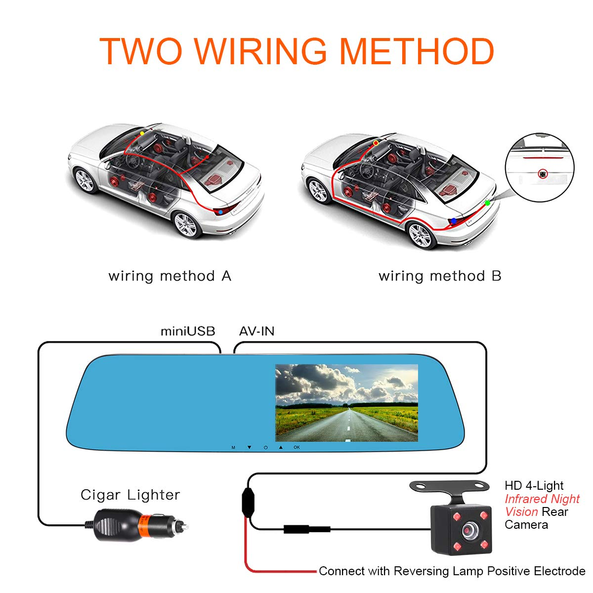 Car 5 Touch Scree 150/° Wide Angle Camera 1080P FHD Front Camera G-Sensor 720P Backup Infrared Light Night Vision Camera Reversing Parking Monitor Car 5 Touch Scree 150/° Wide Angle Camera Vatenzone Rear View Mirror Dash Cam