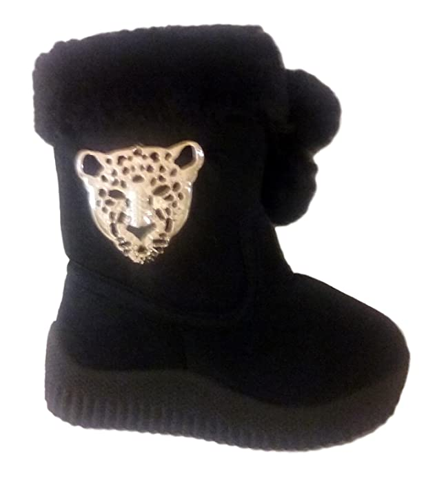 6, Black New Infant Toddler Leopard Winter Pom Poms Dress Boots Sz 5-13