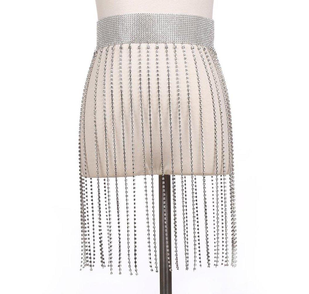 Women Rhinestone Tassel Body Chain Jewelry Nightclub Party Club Bikini ShinyBelly Waist Dance Belt