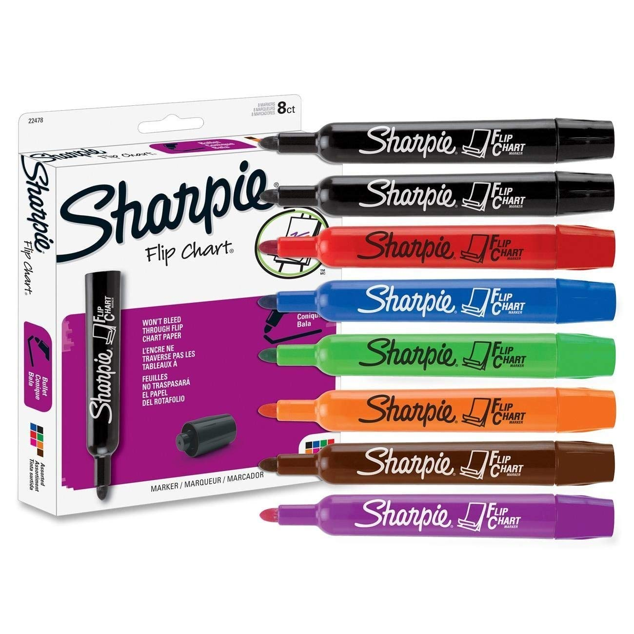 Sharpie Flip Chart Markers, Bullet Tip, Assorted Colors, 2 Packs of 8 by SHARPIE
