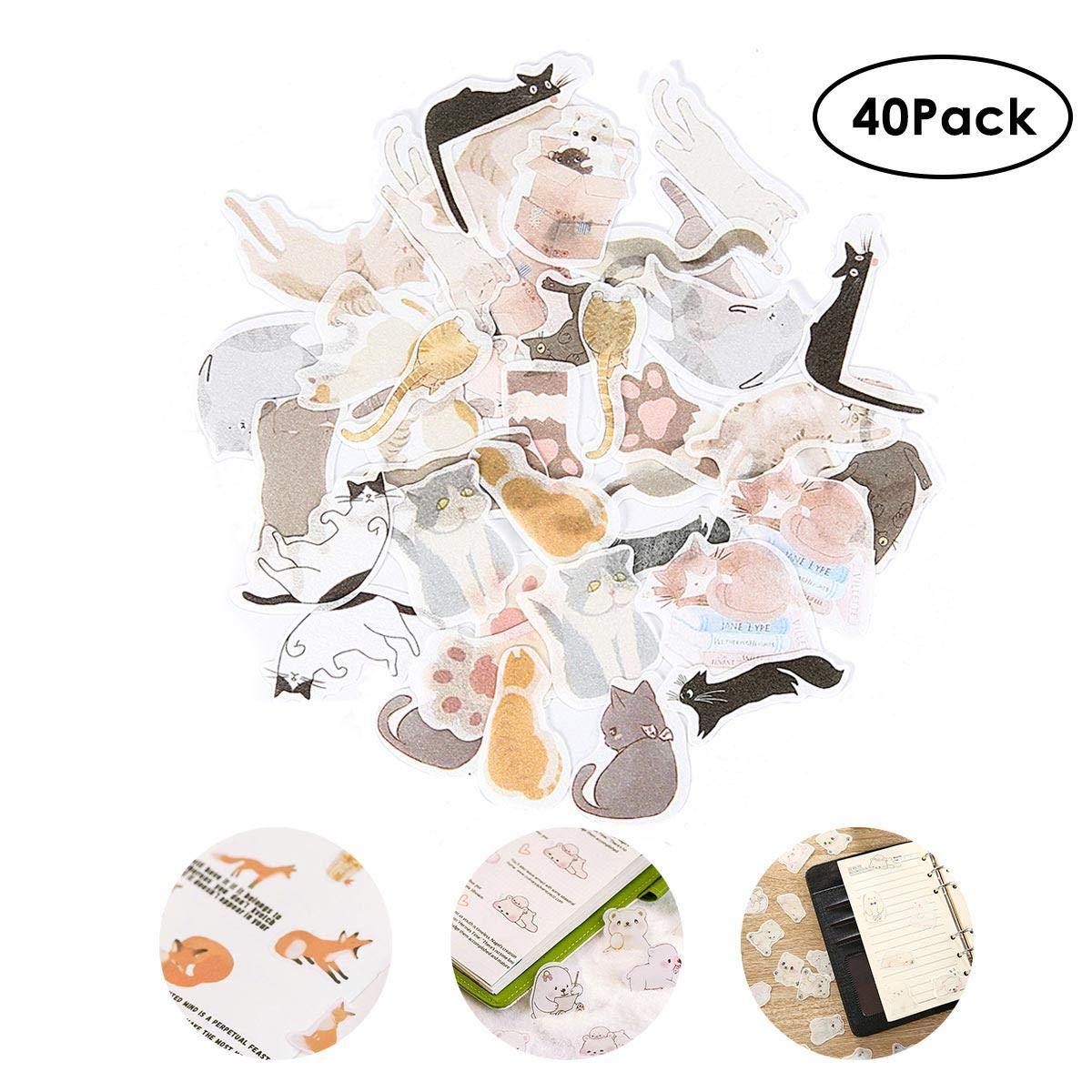 Notebook Hamkaw Ephemera Pack Card Journal Letters 40 PZ Lovely Cute Animal Note Adesivi Washi Masking Sticky Paper Bear Hamster Baby Cat Coniglio Fox Penguin Piggy Doggy per Scrapbook