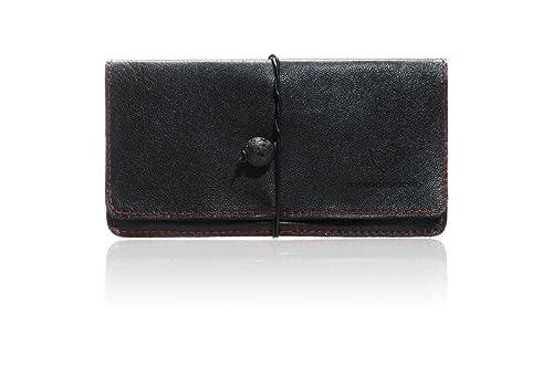 bolsa para tabaco negro con costuras de color rojo cuero ...