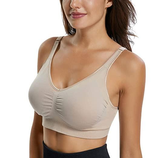 d2005b2c0f HOFISH Women s Seamless Wire-Free Everyday Bras Adjustable Straps 4  Hook Eye No Digging at Amazon Women s Clothing store