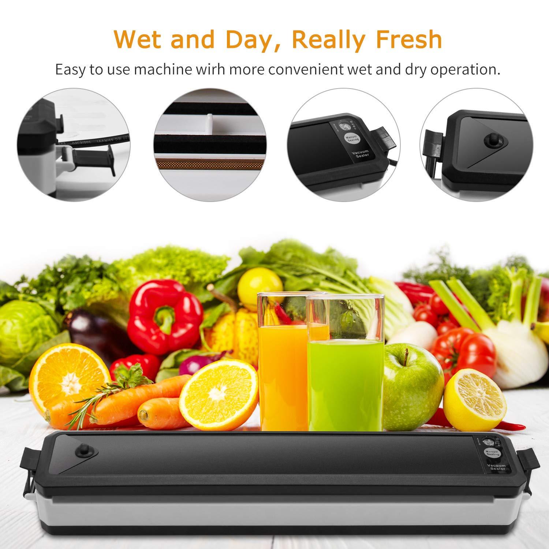 Vacuum Sealer, Sunvito Electric Automatic Food Sealer Machine with Premium Seal Bags for Meat, Eggs, Vegetables, Fruit Storage, Black