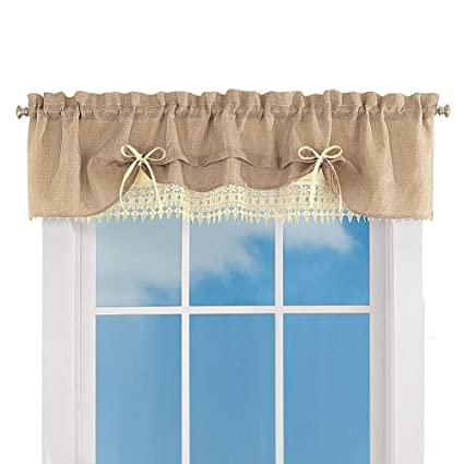 collections burlap lace caf kitchen curtain with rod pocket tops valance - Kitchen Curtain