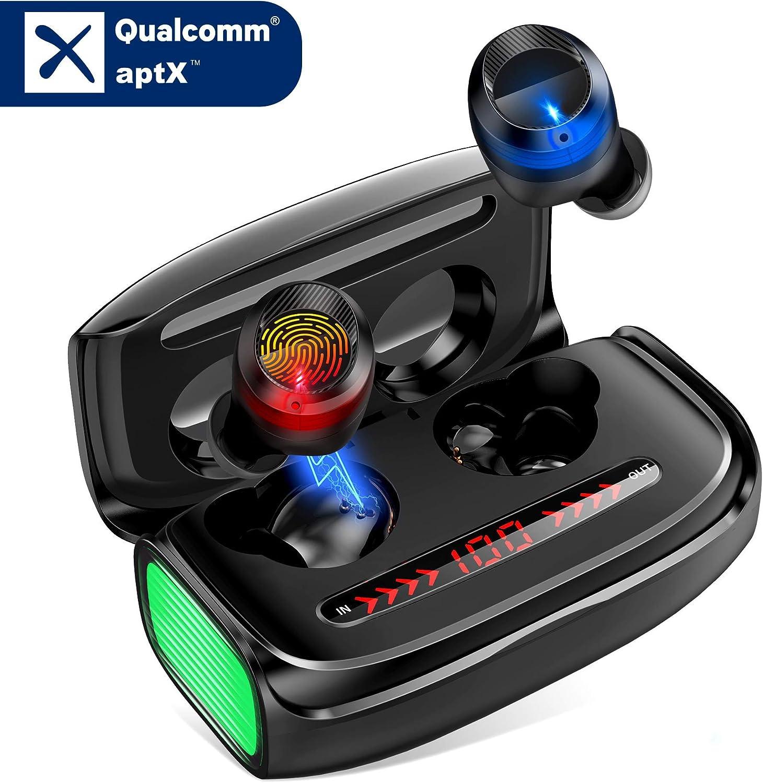 Auriculares Bluetooth, Orit Auriculares Inalámbricos Bluetooth 5.0 con Micrófonos, apt-X HiFi Stereo Sound, 170 Horas de autonomía con Caja de Carga Portátil, Control tactil para iPhone y Android