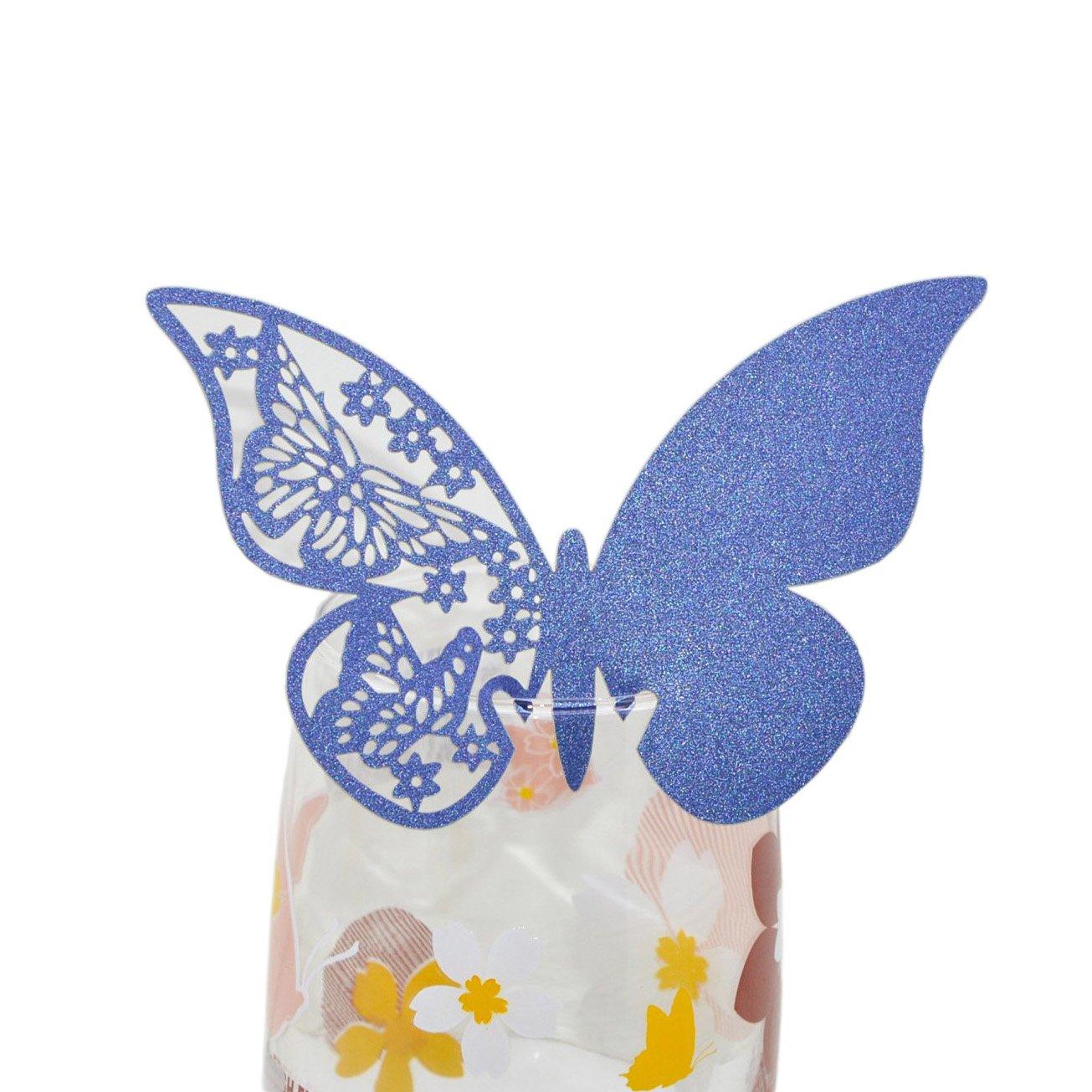 Lot de 50cartes marque place papillon Shimmer Motif découpé au laser Verre à vin pour décoration de mariage, rose, 10.4 x 7 x 1.8 cm PSG