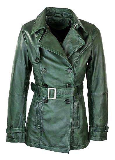 6f41c574811 Women's Green Superior Leather Biker Jacket Coat Vintage Retro Design:  Amazon.co.uk: Clothing