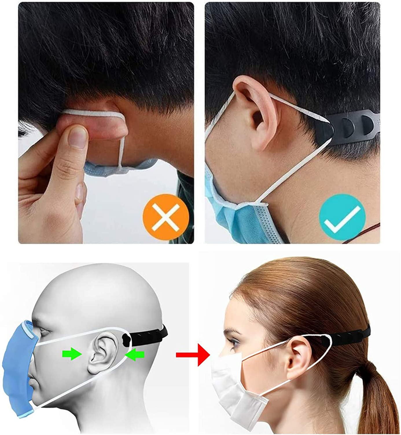 New York Shipping Engilent 10PCS Colorful Mask Extender,Anti-Tightening Holder Hook Ear Strap Accessories Ear Grips Extension Mask Buckle Ear Pain Relieved