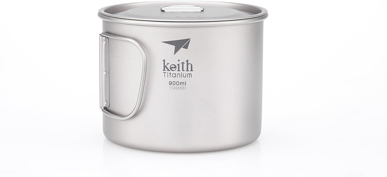Keith Titanium Ti3209 Single-Wall Mug with Folding Handle and Lid - 30.4 fl oz