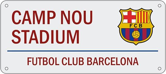 FC Barcelona Official - Placa de calle con escudo del equipo y texto Camp Nou Stadium (Talla Única) (Vino): Amazon.es: Ropa y accesorios