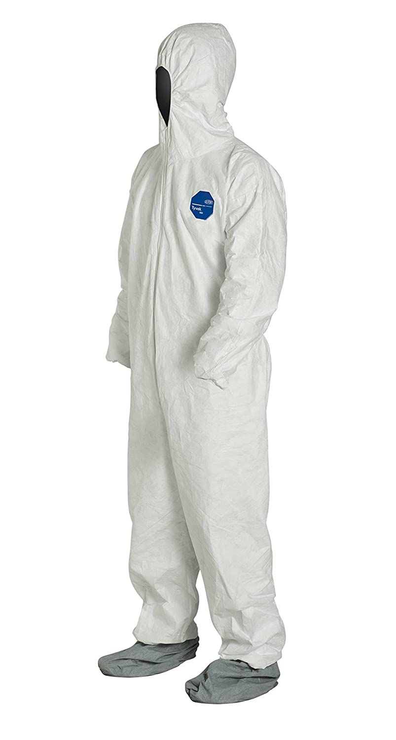 Dupont Tyvek 400 White Coveralls TY122SWH-3XL Hood /& Boots 25//Case