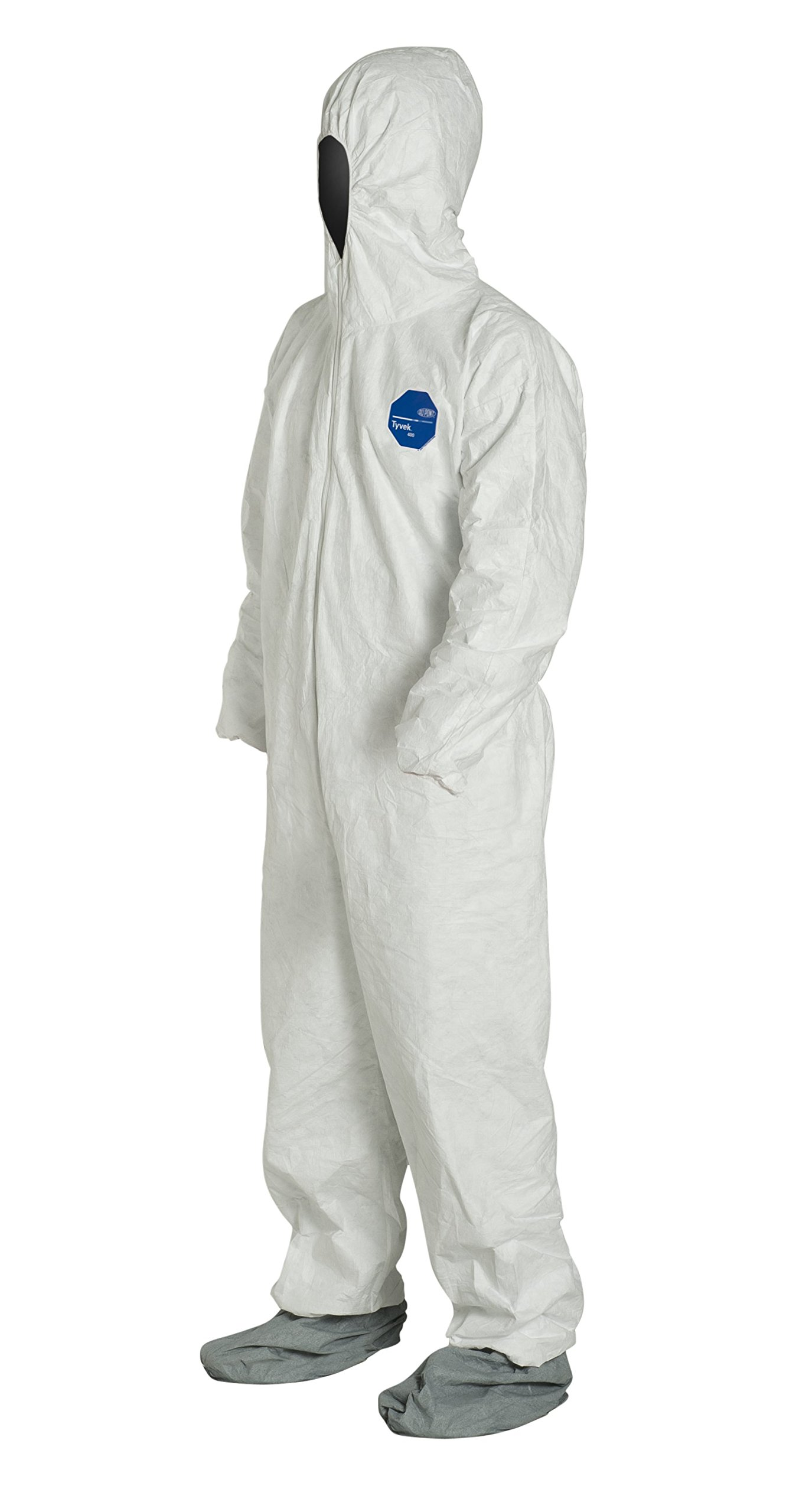 DuPont Tyvek 400 TY122S Disposable Protective Coverall with Elastic Cuffs, Attached Hood and Boots, White, 7X-Large (Pack of 25) by DuPont (Image #4)