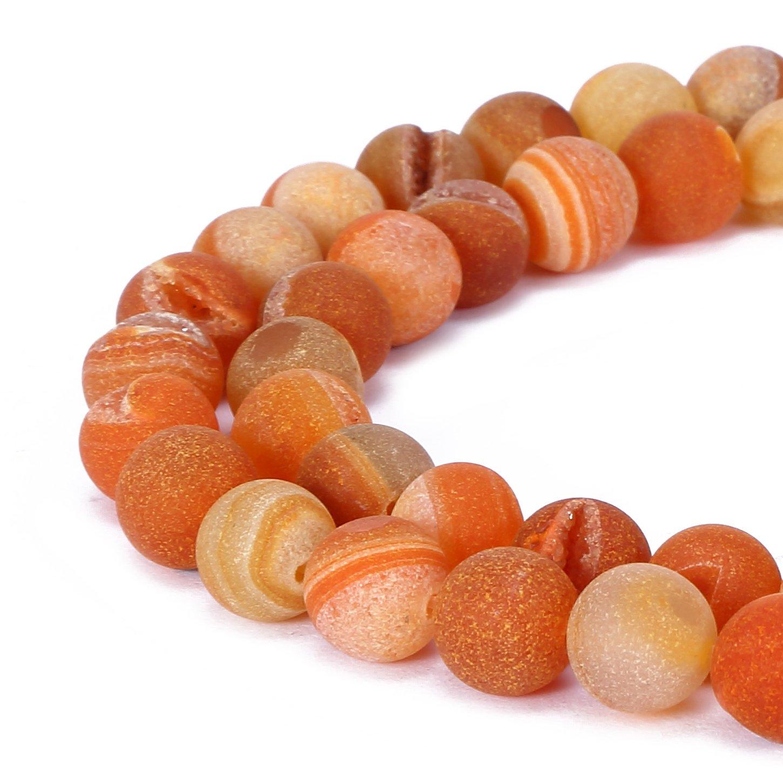 BRCbeads Drusy Agate Quartz Natural Gemstone Loose Beads 10mm Matte Round Crystal Energy Stone Healing Power for Jewelry Making- Orange