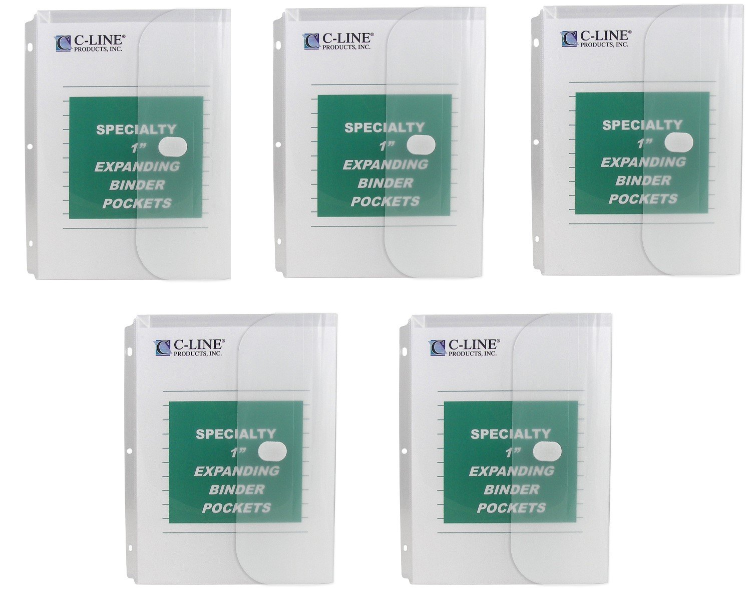 C-Line Biodegradable Acid-Free Poly Binder Pocket with 1-Inch Gusset, Side Loading, Clear, 10 Pockets per Pack, Sold As 5 Packs (33747)