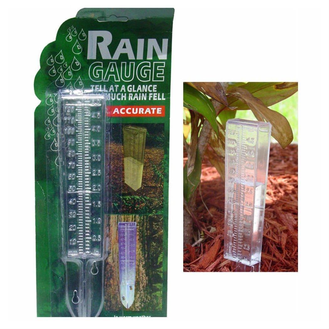 Water Rain Gauge Clear Plastic Weather Garden Accurate Temperature Temp Station
