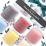 Skymore 572g Bougies Parfumées 6 odeurs et couleurs, (Rose, Fraise, Citron, Mer, Lavande, Vanille) 100% naturelle, Cadeau parfait pour votre famille, mariages, voyage, Huile essentielle candles, Longue durée